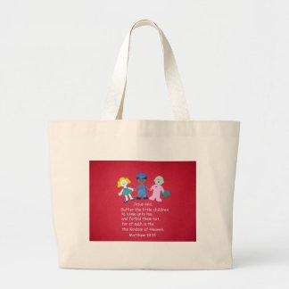 Matthew 19:14 large tote bag