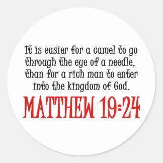 Matthew 19:24 classic round sticker