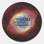 Matthew 19:26 classic round sticker