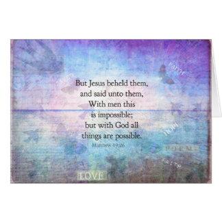 Matthew 19:26 Inspirational Bible Verse with art Card