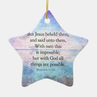 Matthew 19 26 Inspirational Bible Verse with art Ornaments