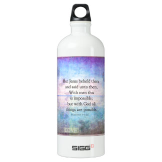 Matthew 19:26 Inspirational Bible Verse with art Water Bottle