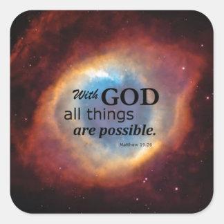 Matthew 19:26 square stickers