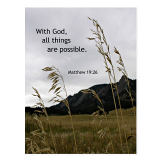 Matthew 19:26 With God, all things are possible Postcard