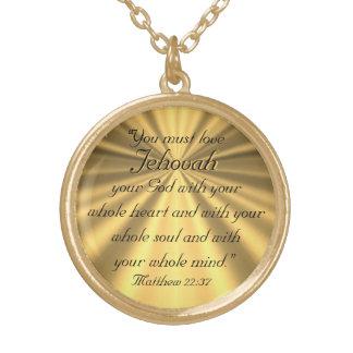 Matthew 22:37 round pendant necklace