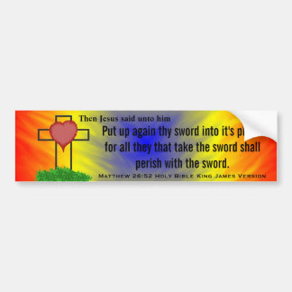 Matthew 26:52 King James Version Bible Scripture Bumper Sticker