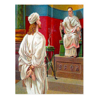 Matthew 27:11-26 Pilate Questions Jesus postcard