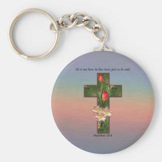 Matthew 28:6 Flowers On The Cross Keychain