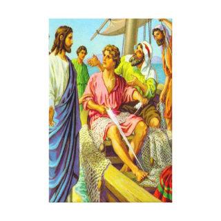 Matthew 4:18-22 Jesus Calls Fishermen Canvas Gallery Wrapped Canvas