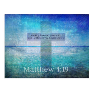 Matthew 4:19 Inspirational Bible Verse Postcard