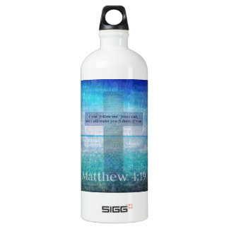 Matthew 4:19 Inspirational Bible Verse Water Bottle