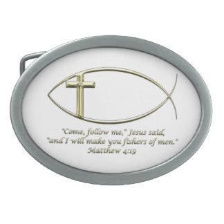 Matthew 4:19 oval belt buckle