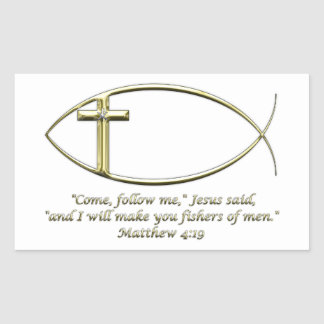Matthew 4:19 rectangular sticker
