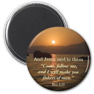 Matthew 4:19 sunset scripture magnet
