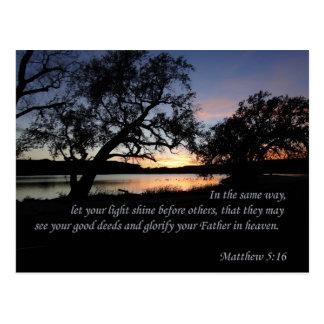 Matthew 5:16 Let Your Light Shine... Postcard