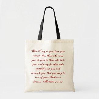 Matthew 5:44 Tote Budget Tote Bag
