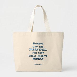 Matthew 5: 7 tote bags