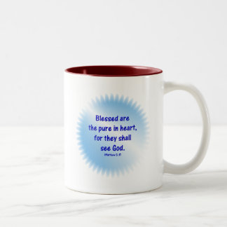 Matthew-5: 8 - BLESSED ARE THE PURE IN HEART... Two-Tone Coffee Mug