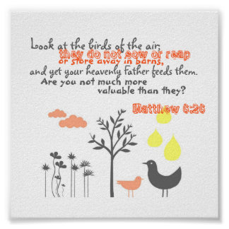 Matthew 6:26 - More Valuable Than Birds Poster
