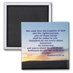 Matthew 6:33-34 2 inch square magnet