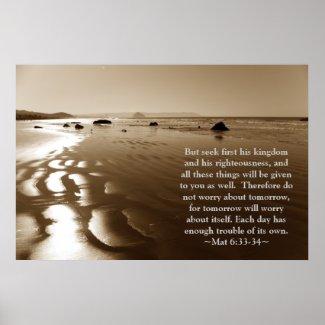 Matthew 6:33- 34 Poster print