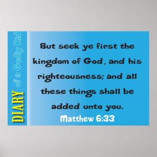 Matthew 6:33 Bible Verse Poster
