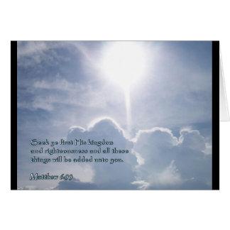 Matthew 6:33 Shining Clouds Greeting Card