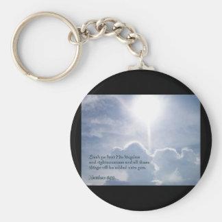 Matthew 6:33 Shining Clouds Keychain