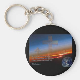 Matthew 6:33 Sunset Crosses Keychain