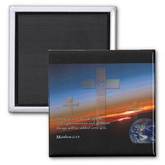 Matthew 6:33 Sunset Crosses Fridge Magnet
