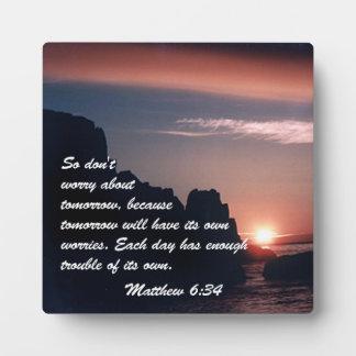 Matthew 6:34 plaque