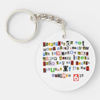 Matthew 6:34 Ransom Note Single-Sided Round Acrylic Keychain