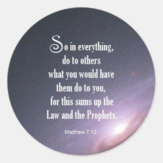 Matthew 7:12 classic round sticker