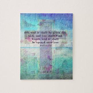 Matthew 7:7-8 Inspirational Bible Verse Christian Jigsaw Puzzle