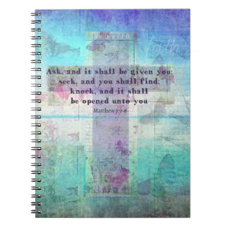 Matthew 7:7-8 Inspirational Bible Verse Christian Spiral Notebooks