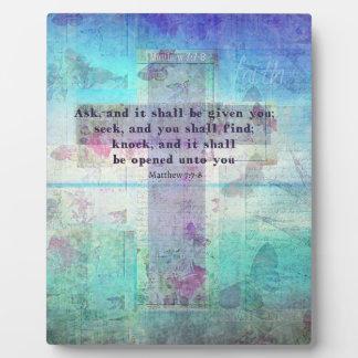 Matthew 7:7-8 Inspirational Bible Verse Christian Plaque