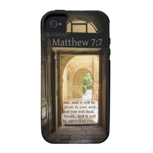Matthew 7:7 Beautiful Bible Verse iPhone 4/4S Case