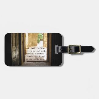 Matthew 7:7 Beautiful Bible Verse Luggage Tag