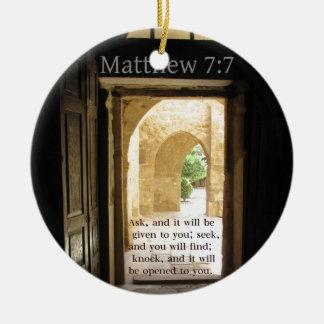 Matthew 7 7 Beautiful Bible Verse Christmas Tree Ornament
