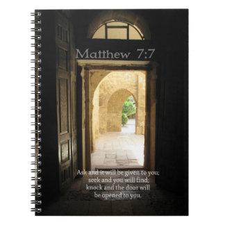 Matthew 7:7 Inspirational Bible Verse Spiral Note Book