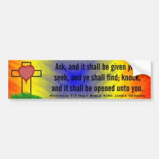 Matthew 7:7 King James Version Bible Scripture Bumper Sticker