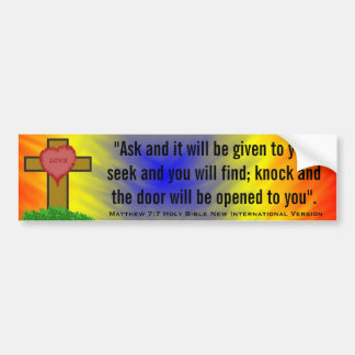 Matthew 7:7 New Int'l Version Bible Scripture Bumper Sticker