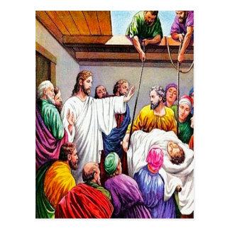 Matthew 9:1-8 Jesus Forgives and Heals postcard