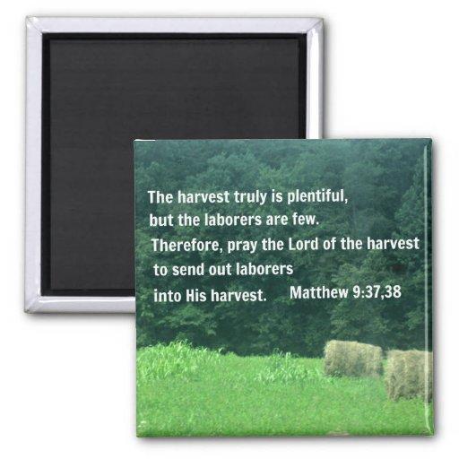 Matthew 9:37,38 2 inch square magnet