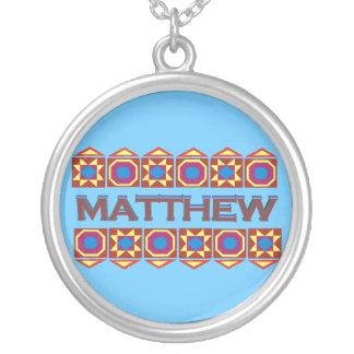 Matthew Abstract art southwestern over light blue Round Pendant Necklace