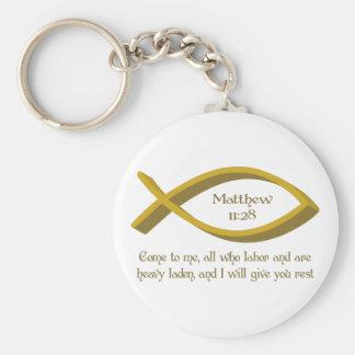 MATTHEW BIBLE VERSE BASIC ROUND BUTTON KEYCHAIN