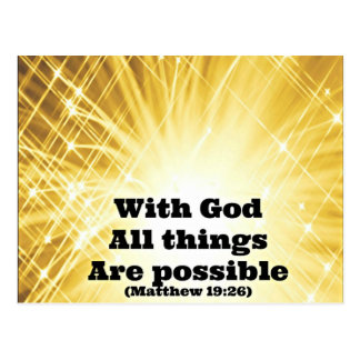 Matthew Bible With God all things are possible Postcard