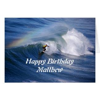 Matthew Happy Birthday Surfer With Rainbow Card