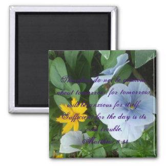 Matthew Inspirational FLOWERS Scripture ANXIOUS Magnet