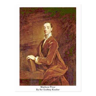 Matthew Prior de sir Godfrey Kneller Tarjeta Postal